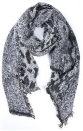 sjaal animal print grijs