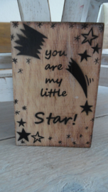 houten postkaart | You are my little star