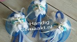 broche tube met masker | blauw/wit
