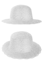 organza hoed zilver/wit