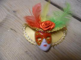 corsage masker rood/geel/groen