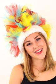 fur hoed rood/geel/blauw