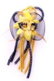 broche/haarclip bloem zwart/geel
