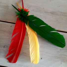 grote ganzen veren rood/geel/groen