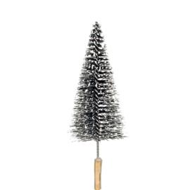 glitter kerstboom op steker | zwart/wit