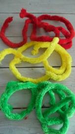 dikke chenille rood/geel/groen