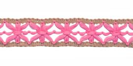 gebreid sierband roze/zand