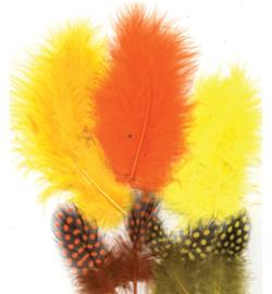 marabou/parelhoen veertjes geel/oranje