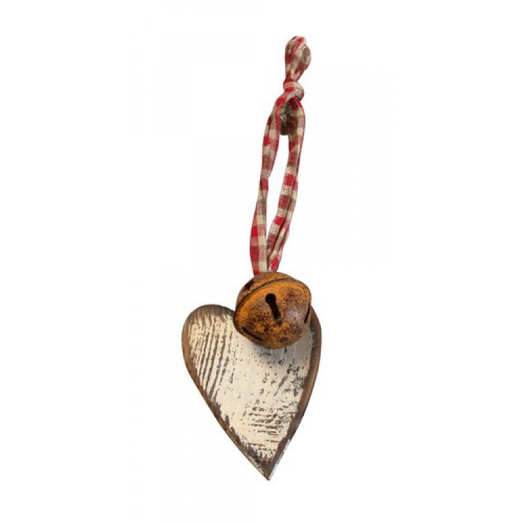 houten hart met bel