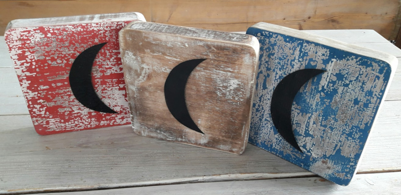 houten decoratieblok   maan