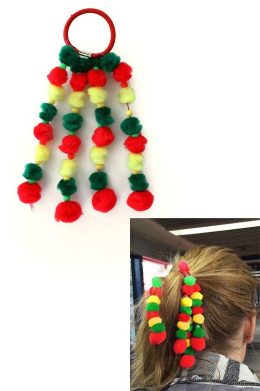 haarelastiek  rood/geel/groen