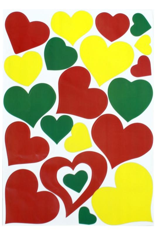 raamstickers hartjes | rood/geel/groen