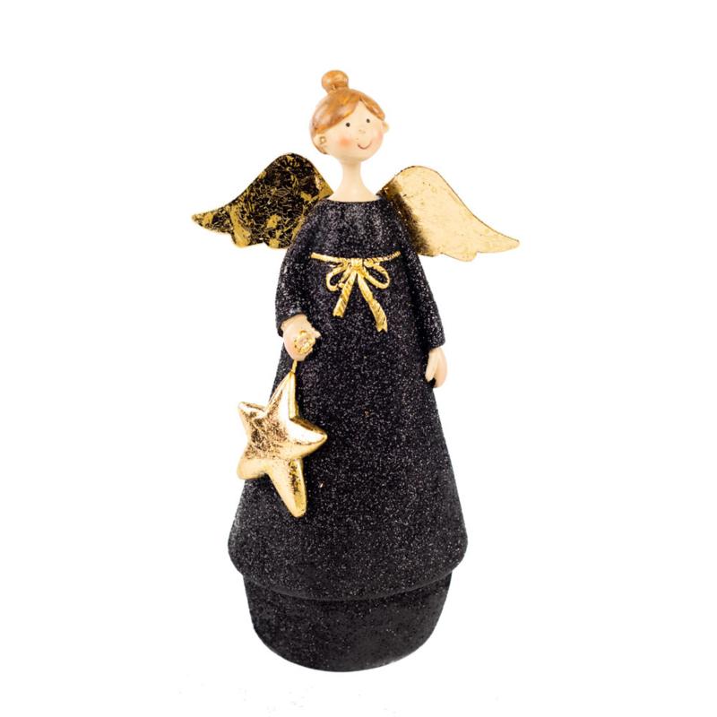 engel staand zwart/goud   medium