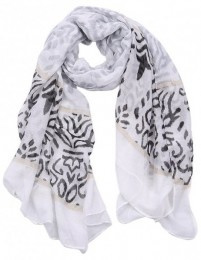 sjaal met barok print grijs