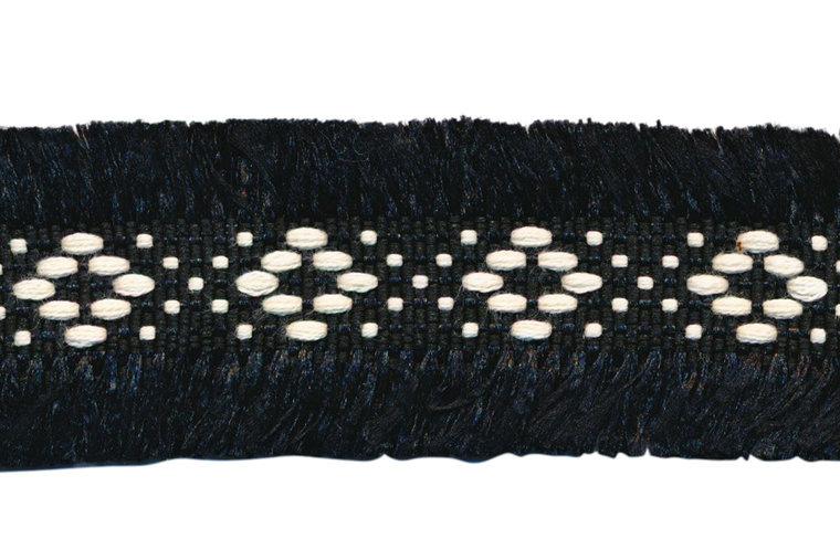 zwart 2-zijdig franjeband aztec-stijl