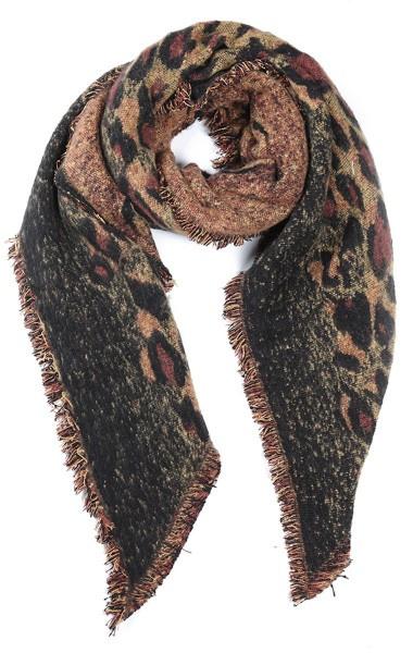 sjaal   animal print bruin