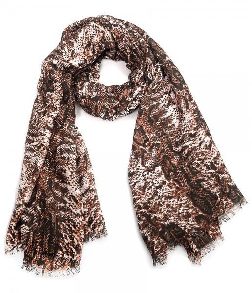 sjaal | slangen print bruin