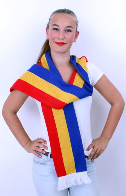 sjaal rood/geel/blauw