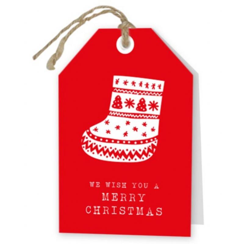 kerst wenskaart rood met laars