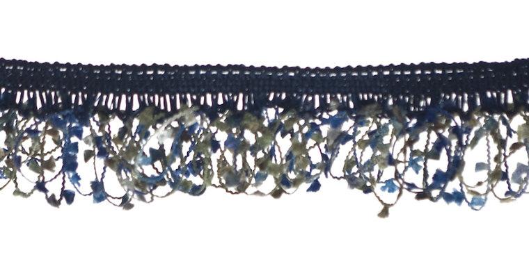 elatisch franjeband donker blauw/grijs/leger groen