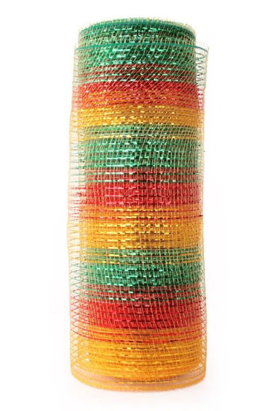deco mesh tule rood/geel/groen