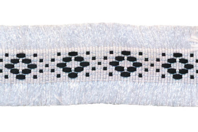 wit 2-zijdig franjeband aztec-stijl