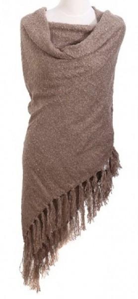 sjaal met tassels bruin