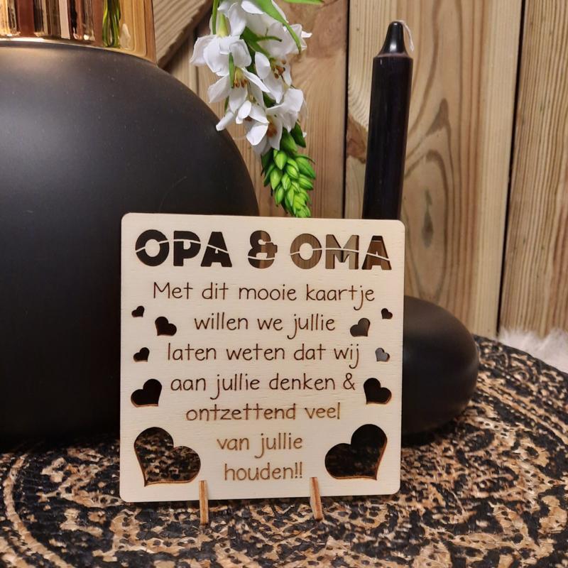 houten kaart opa en oma