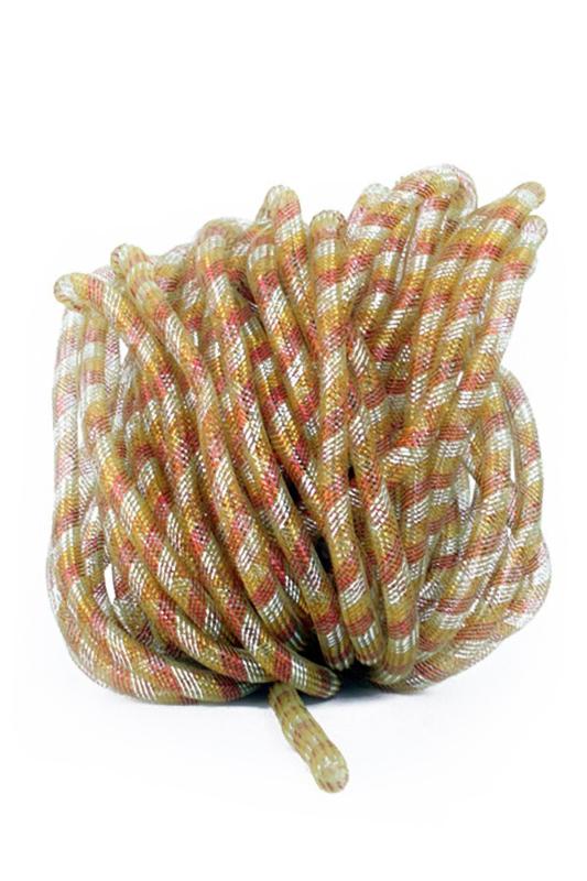 decoratie tube 16 mm rood/wit/geel 2,5 mtr