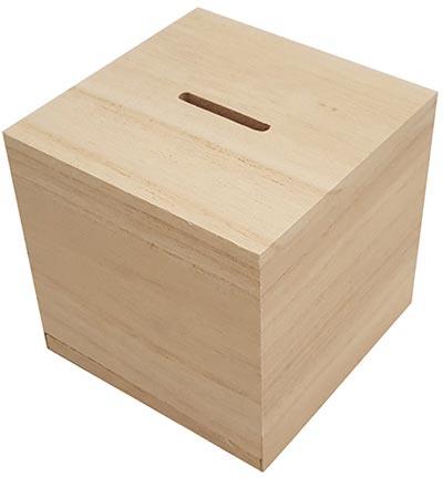 houten spaarpot naturel