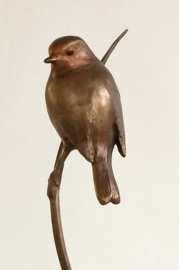 Roodborstje op stengel - bronzen beeld