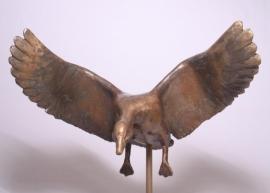 Landende gans - bronzen beeld