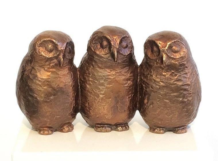 3 uilskuikens - bosuil - brons