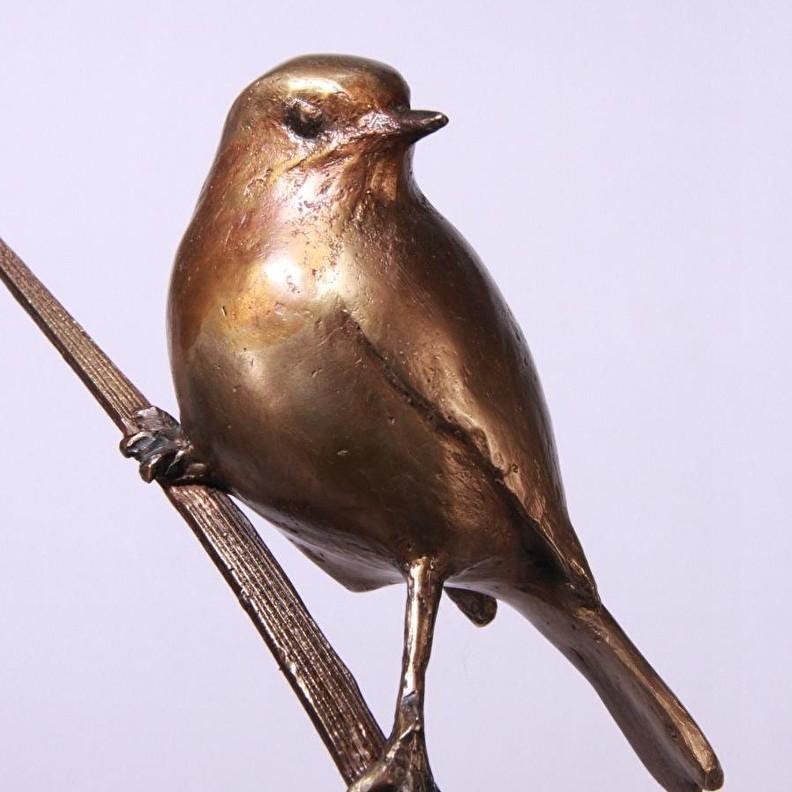 Bronzen beeld vogel - Roodborstje