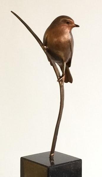 Bronzen beelden van vogels - roodborstje