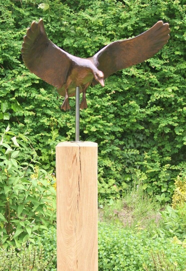 Bronzen tuinbeeld - Landende gans