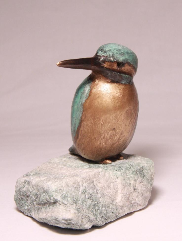 Lief ijsvogeltje - bronzen beeld