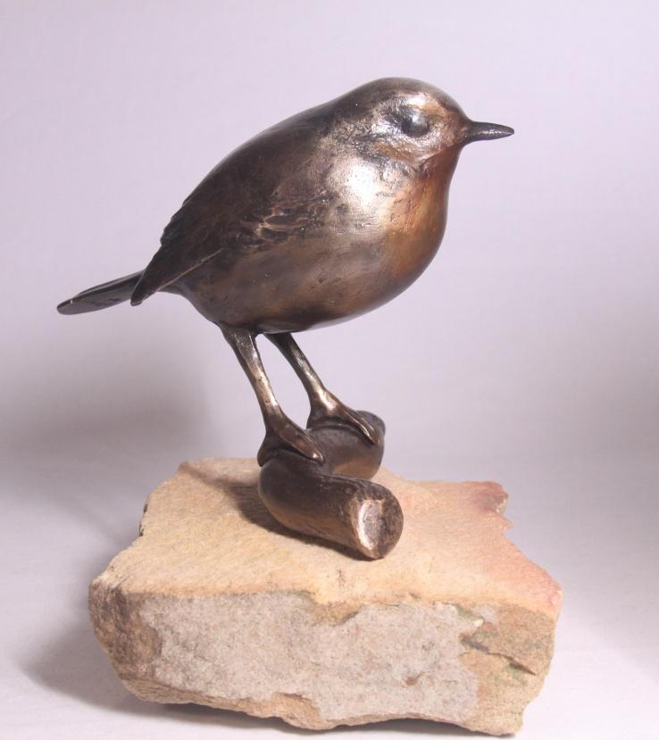 Roodborstje - bronzen vogelbeeld