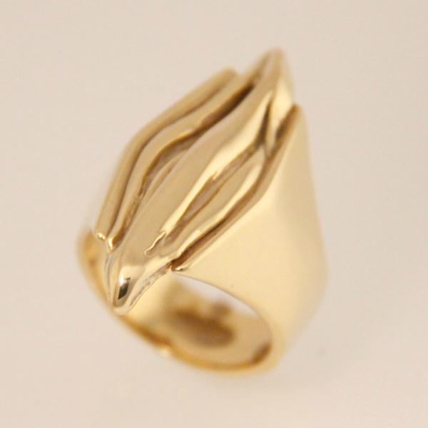 Sieraden brons, verguld met 14 krt goud - ring