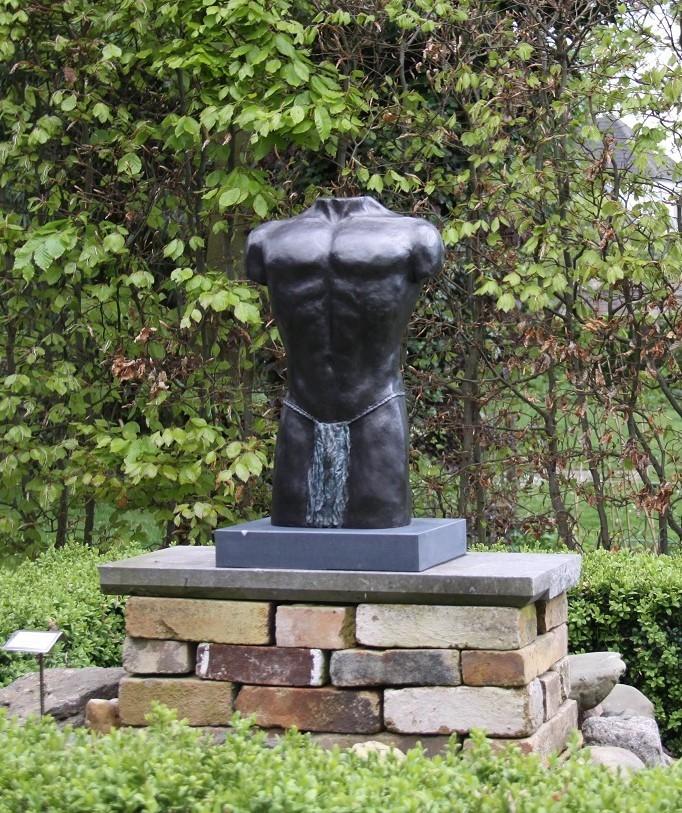 Expositie bronzen mannenbeeld - torso
