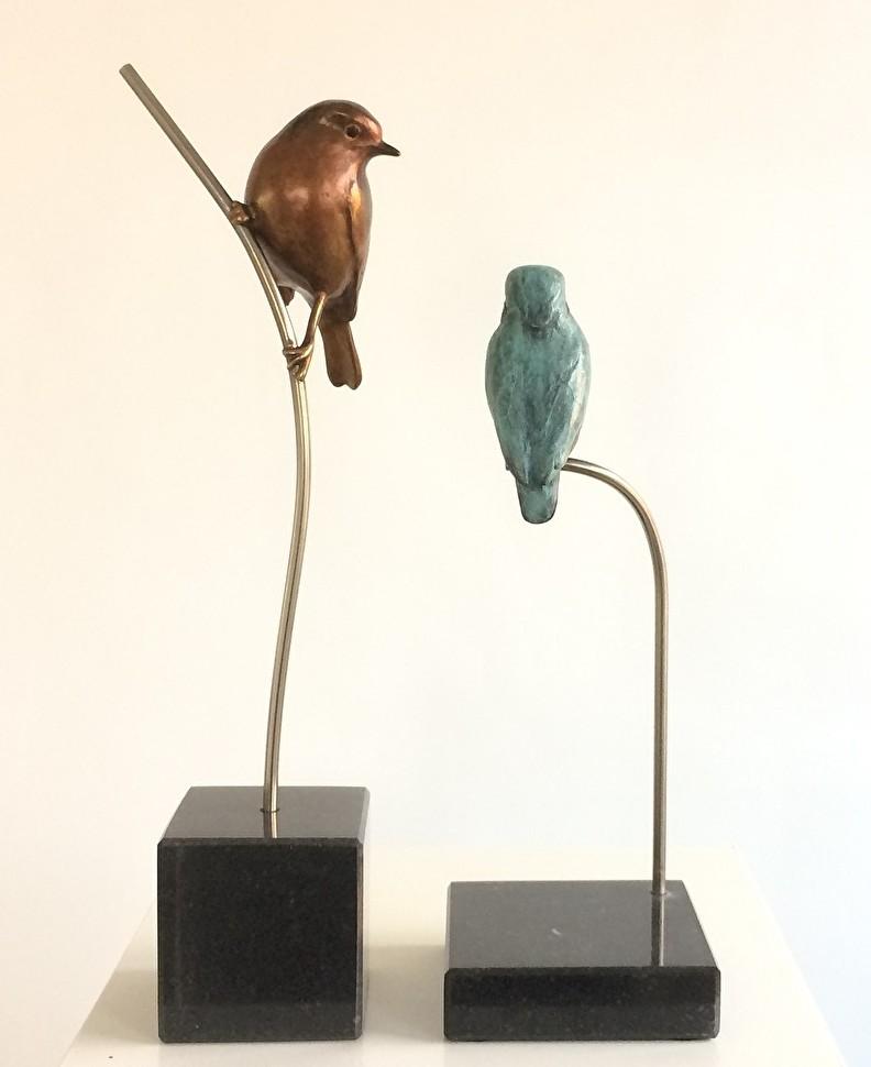 Birdart  Robin and Kingfisher sculptures