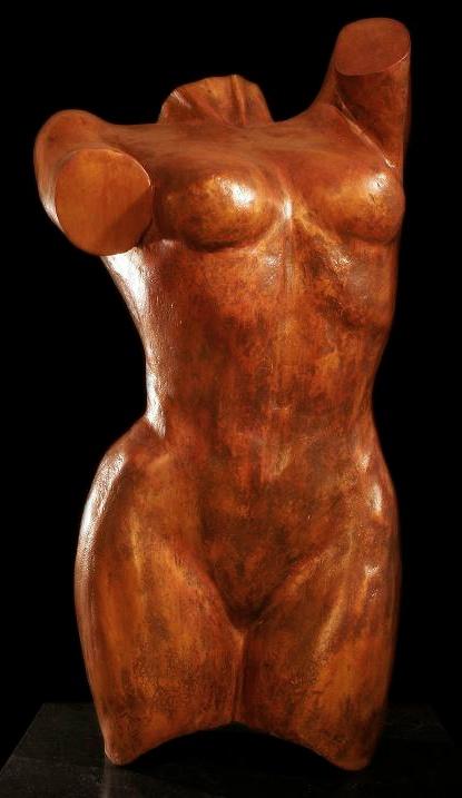 Vrouwenbeeld - torso van brons