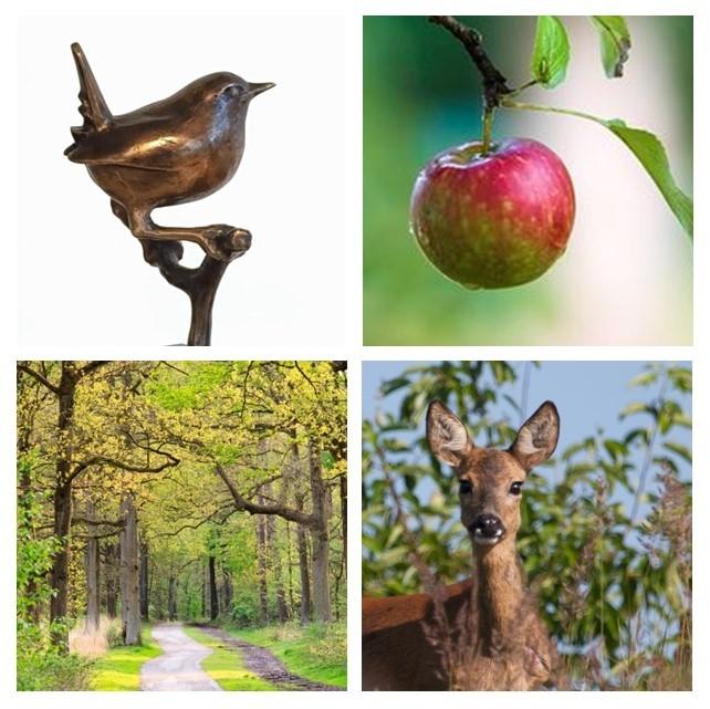 Bronzen beelden - vogels in de herfst