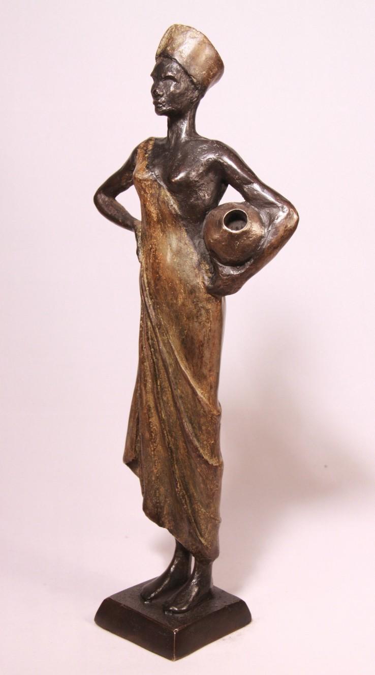 Afrikaans vrouwtje - bronzen beeld