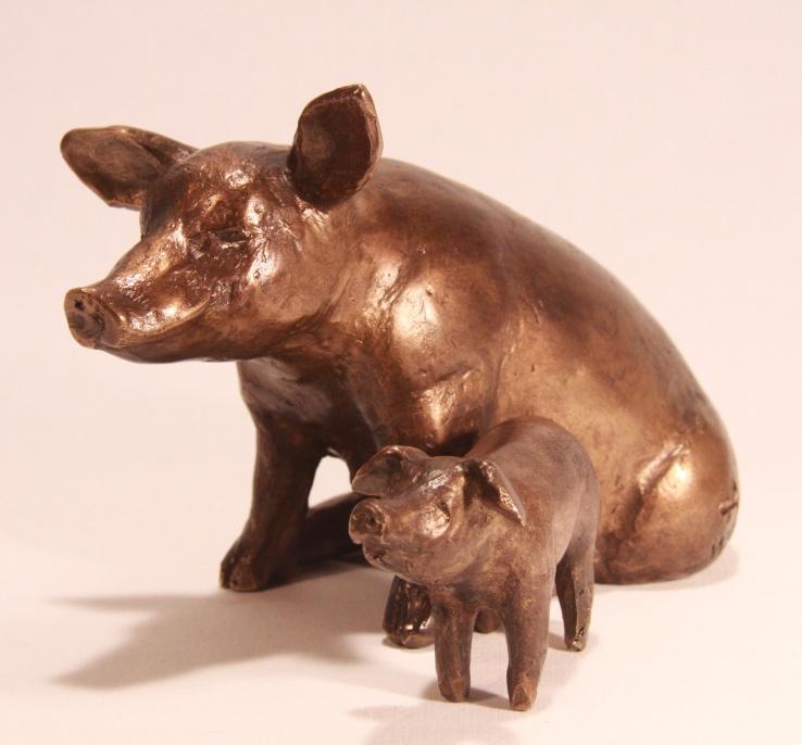 Varken met big - bronzen beeld zonder sokkel