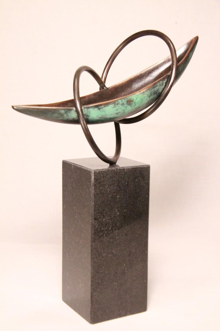 bronzen beeld boot Verbondenheid - cadeau afscheid