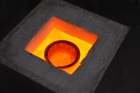 het brons is gesmolten