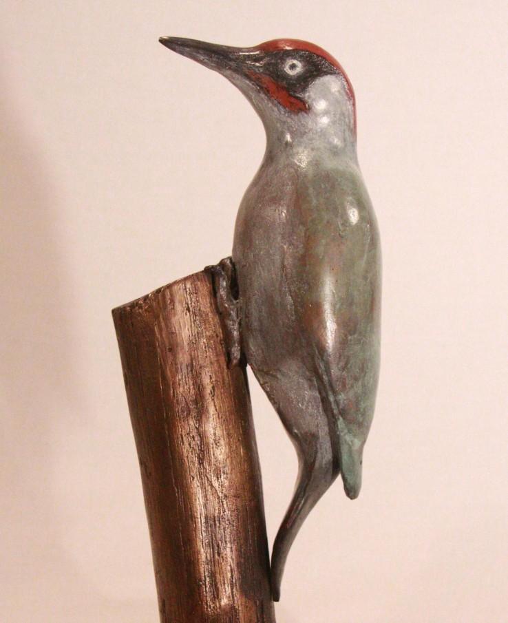 Groene Specht Roots - bronzen beeld tuinvogel