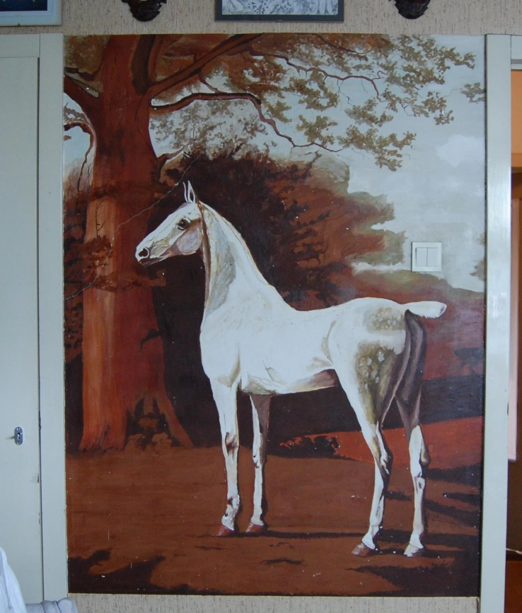 Paard als kind op de muur geschilderd