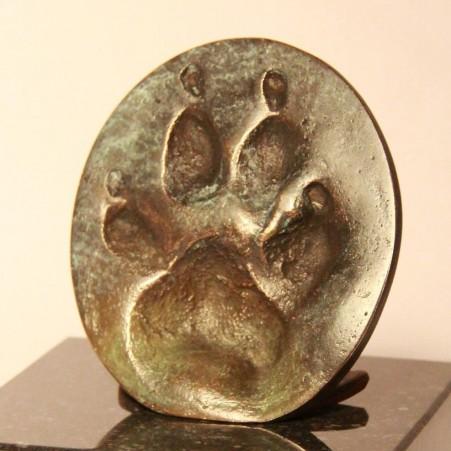 Pootafdruk in brons, groen gepatineerd